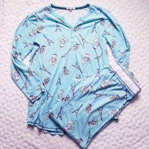 PJ Salvage pajamas pants top French Bulldogs M